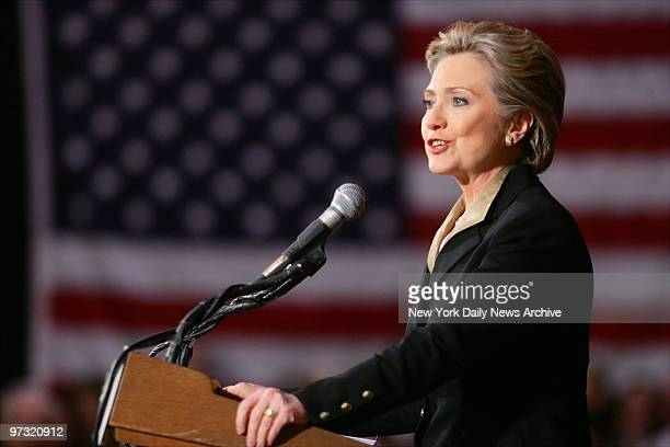 Democratic presidential candidate Sen Hillary Rodham Clinton speaks during a campaign stop at Hunter College before flying out to Texas to stump for...