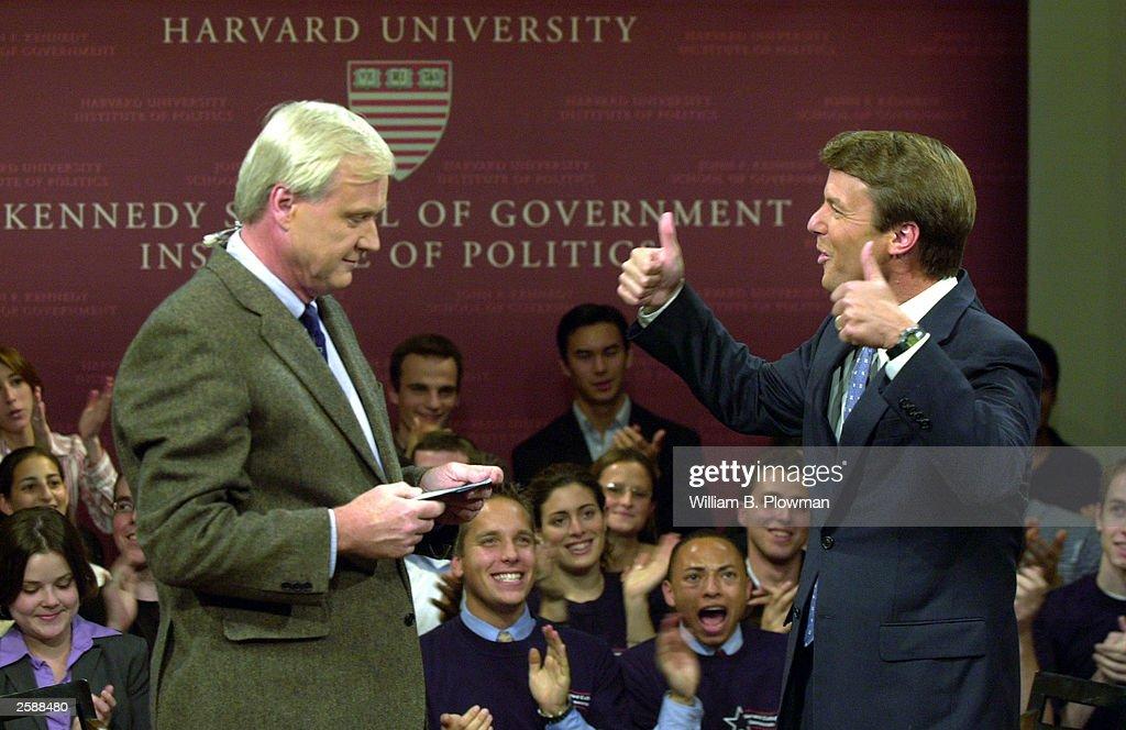 Sen. John Edwards Campaigns At Harvard : News Photo