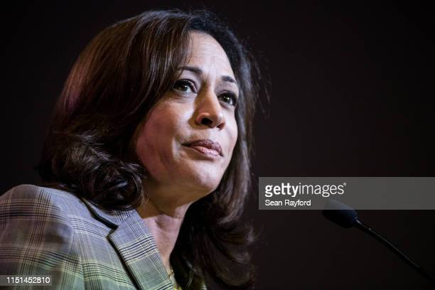 Democratic presidential candidate, Sen. Kamala Harris addresses the crowd at the 2019 South Carolina Democratic Party State Convention on June 22,...