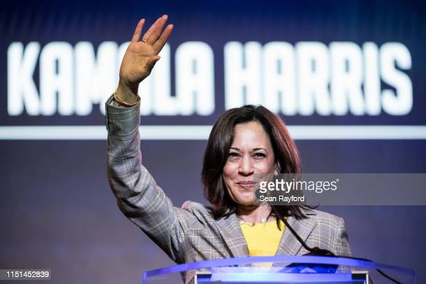 Democratic presidential candidate Sen Kamala Harris addresses the crowd at the 2019 South Carolina Democratic Party State Convention on June 22 2019...