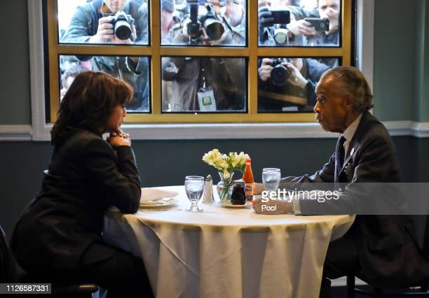 Democratic presidential candidate Sen Kamala Harris and civil rights leader Rev Al Sharpton President of National Action Network meet for lunch at...