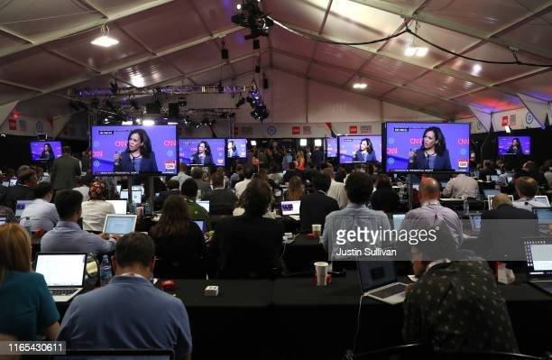Democratic presidential candidate Sen Kamala Harris is shown on television screens in the press room during the Democratic Presidential Debate at the...