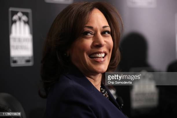 Democratic presidential candidate Sen. Kamala Harris participates in a interview and question-and-answer session with leaders from historically black...