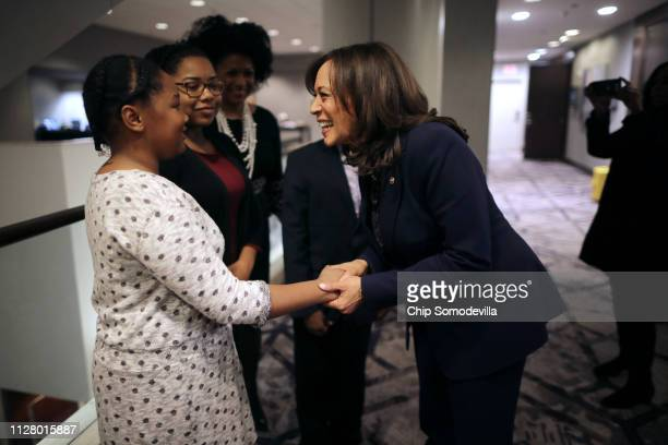 Democratic presidential candidate Sen Kamala Harris participates talks with young people after a questionandanswer session with leaders from...
