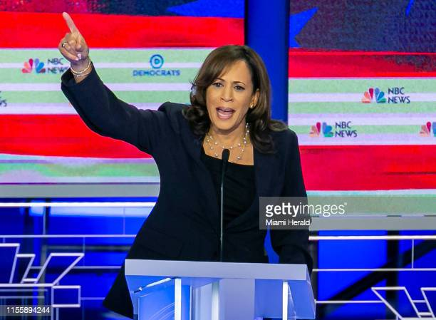 Democratic presidential candidate Sen. Kamala Harris speaks during the second night of the first Democratic presidential debate on Thursday, June 27...