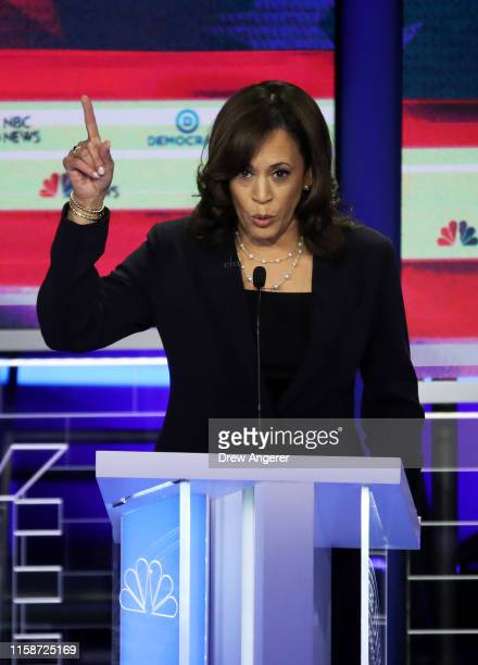 Democratic presidential candidate Sen Kamala Harris speaks during the second night of the first Democratic presidential debate on June 27 2019 in...