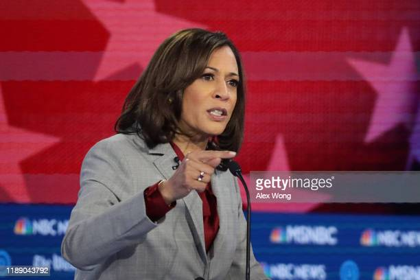Democratic presidential candidate Sen. Kamala Harris speaks during the Democratic Presidential Debate at Tyler Perry Studios November 20, 2019 in...