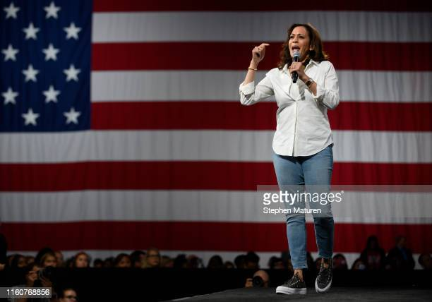 Democratic presidential candidate Sen. Kamala Harris speaks on stage during a forum on gun safety at the Iowa Events Center on August 10, 2019 in Des...