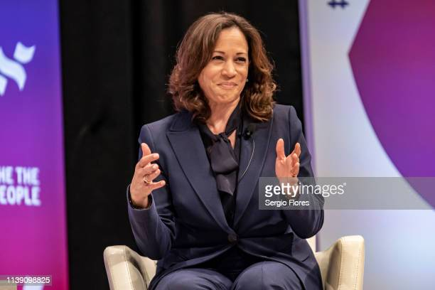 Democratic presidential candidate Sen Kamala Harris speaks to a crowd at the She The People Presidential Forum at Texas Southern University on April...