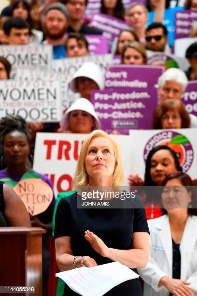Democratic presidential candidate Sen Kirsten Gillibrand attends an event at the Georgia State Capitol to speak out against the recently passed...