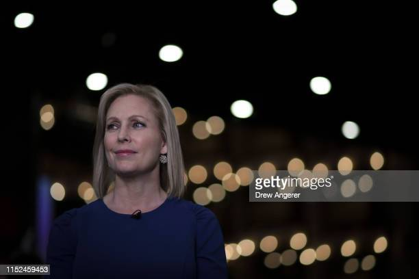 Democratic presidential candidate Sen Kirsten Gillibrand does a television interview in the spin room after the second night of the first Democratic...