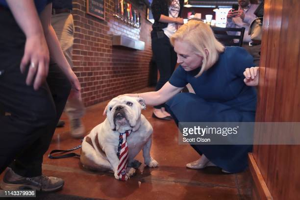 Democratic presidential candidate Sen Kirsten Gillibrand meets Griff the Drake University mascot during a campaign event with Drake University...