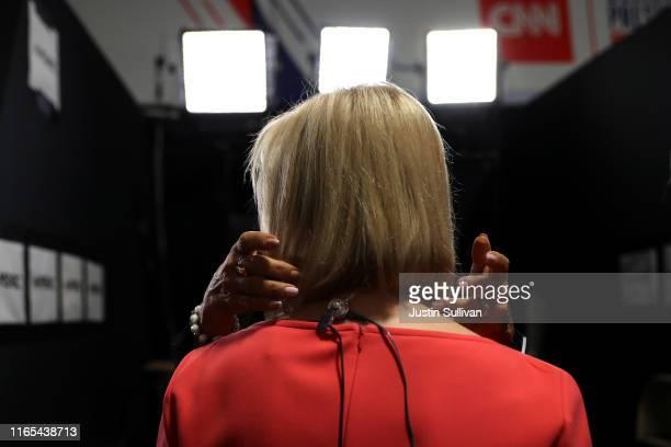 Democratic presidential candidate Sen. Kirsten Gillibrand prepares for a television interview in the spin room after the Democratic Presidential...