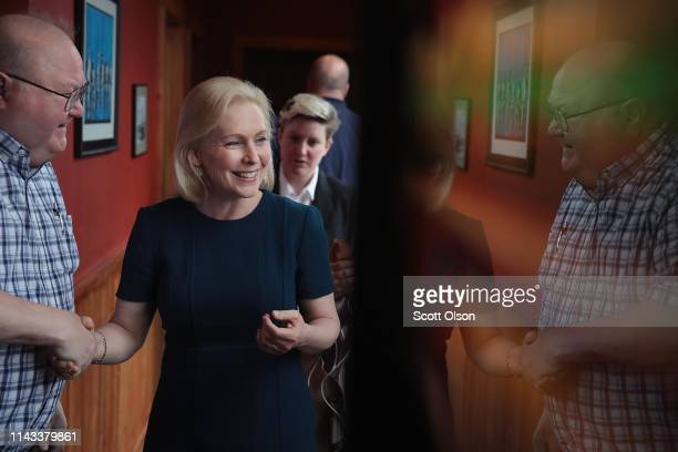 Democratic presidential candidate Sen Kirsten Gillibrand speaks to guests during a campaign event with Drake University Democrats at Papa Keno's...
