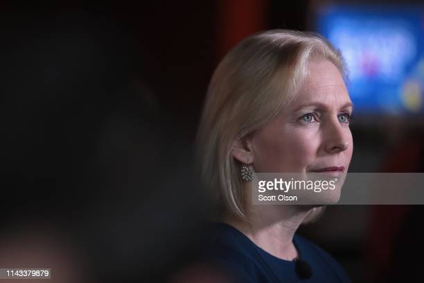 Democratic presidential candidate Sen. Kirsten Gillibrand speaks to guests during a campaign event with Drake University Democrats at Papa Keno's...