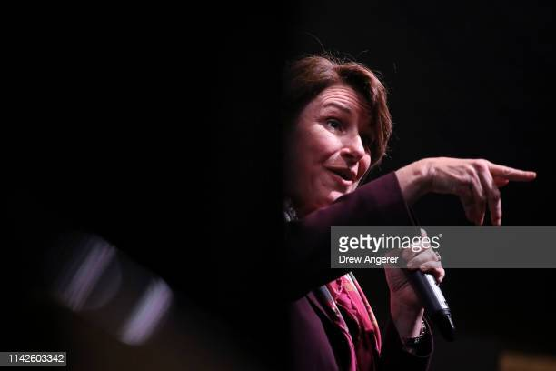 Democratic presidential candidate Sen Amy Klobuchar  speaks during a town hall event for members of the American Federation of Teachers at Yonkers...