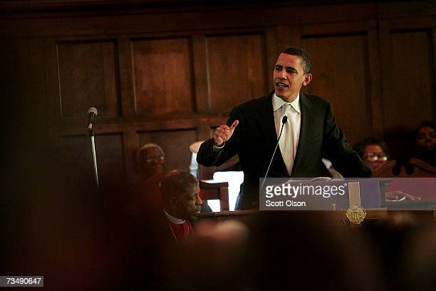 Democratic Presidential candidate Senator Barack Obama addresses a crowd gathered for the commemoration of the 1965 Voting Rights March at Brown...