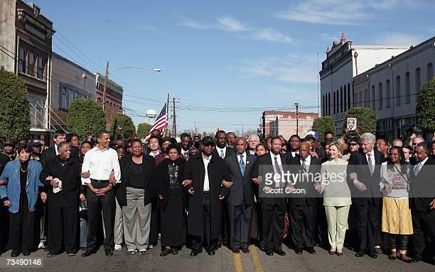 Democratic Presidential candidate Senator Barack Obama and fellow Democratic Presidential candidate Senator Hillary Clinton and her husband former...