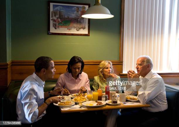 Democratic Presidential Candidate Senator Barack Obama and his wife Michelle Obama , have breakfast with his running mate, US Vice Presidential...