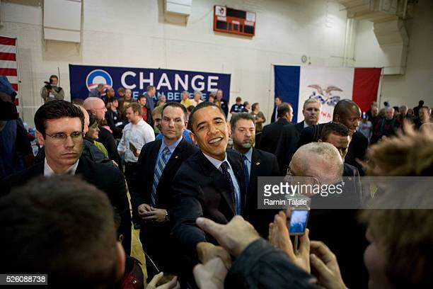 Democratic presidential candidate Senator Barack Obama, greets supporters at a campaign rally in Newton, Iowa.