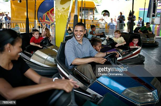Democratic Presidential Candidate Senator Barack Obama with his daughters Malia and Sasha and his wife Michelle vist the Iowa State Fair August 16...