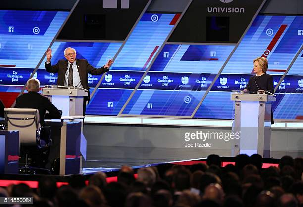 Democratic presidential candidate Senator Bernie Sanders and Democratic presidential candidate Hillary Clinton debate during the Univision News and...