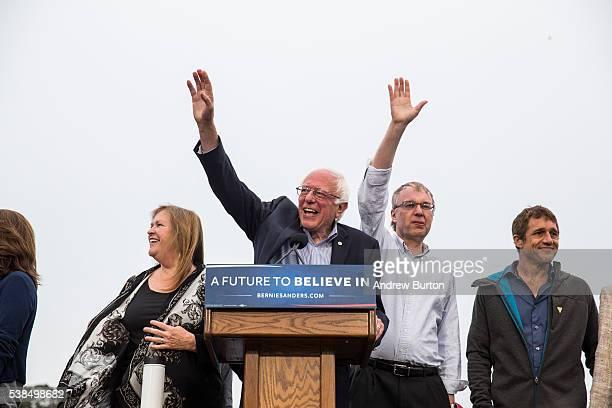 Democratic presidential candidate Senator Bernie Sanders arrives at a rally at the Presidio on June 6 2016 in San Francisco California California's...