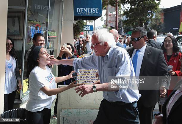 Democratic presidential candidate Senator Bernie Sanders campaigns in the Mission District on June 6 2016 in San Francisco California Voters in...