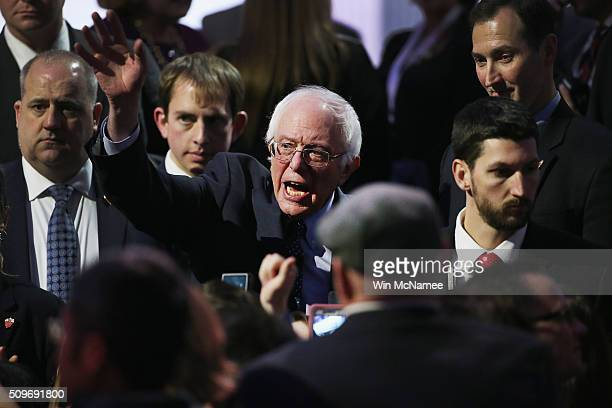 Democratic presidential candidate Senator Bernie Sanders greets guests after participating in the PBS NewsHour Democratic presidential candidate...