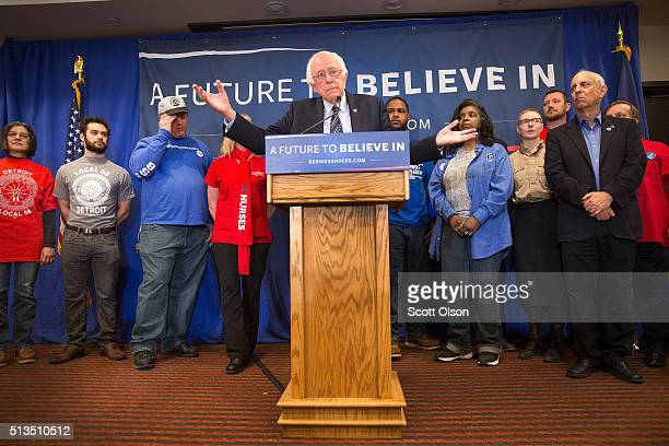 Democratic presidential candidate Senator Bernie Sanders holds a press conference with union workers to discuss the affect of free trade agreements...