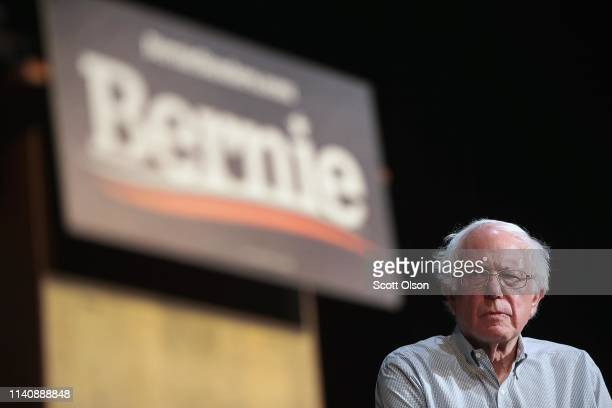 Democratic presidential candidate Senator Bernie Sanders host a campaign rally at the Fairfield Arts and Convention Center on April 06 2019 in...