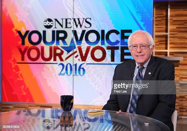 AMERICA Democratic presidential candidate Senator Bernie Sanders is a guest on 'Good Morning America' 1/6/16 airing on the ABC Television Network