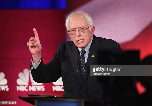Democratic presidential candidate Senator Bernie Sanders participates in the Democratic Candidates Debate hosted by NBC News and YouTube on January...