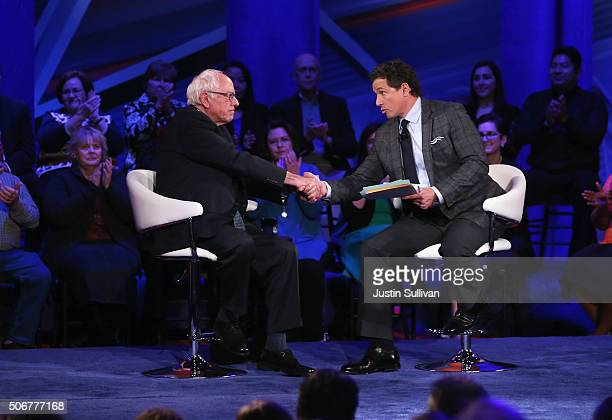 Democratic presidential candidate Senator Bernie Sanders participates in a town hall forum with moderator Chris Cuomo which is hosted by CNN at Drake...