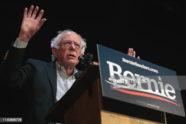 Democratic presidential candidate Senator Bernie Sanders speaks during a rally at the Fairfield Arts and Convention Center on April 06 2019 in...