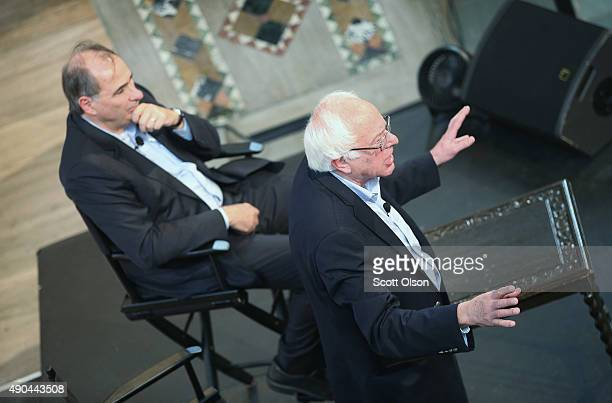 Democratic presidential candidate Senator Bernie Sanders speaks at an event sponsored by Institute of Politics at the University of Chicago as David...