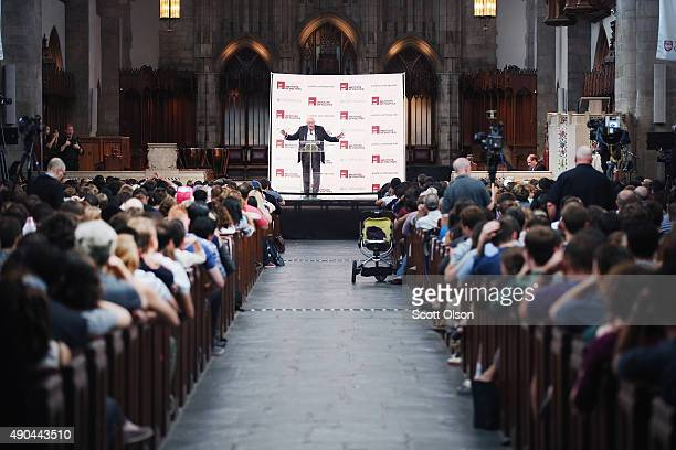 Democratic presidential candidate Senator Bernie Sanders speaks to guests at an event sponsored by Institute of Politics at the University of Chicago...
