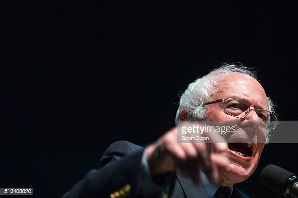 Democratic presidential candidate Senator Bernie Sanders speaks to guests during a rally on the campus of Michigan State University on March 2, 2016...