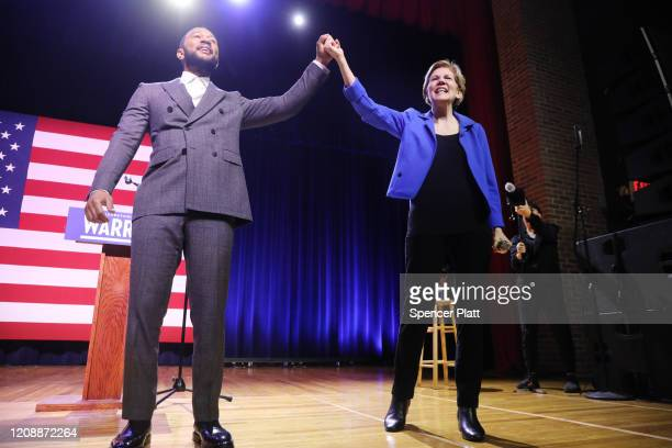Democratic presidential candidate Senator Elizabeth Warren appears with musician John Legend at a Get Out the Vote Rally at South Carolina State...