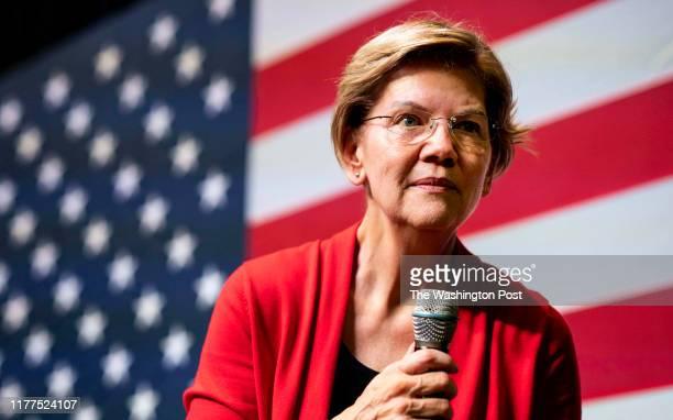 Democratic Presidential candidate Senator Elizabeth Warren at a Warren Indianola Town Hall at Simpson College in Indianola, Iowa on Sunday October...