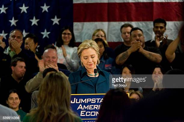 Democratic Presidential candidate Senator Hillary Clinton pauses during a campaign stop in Los Angeles at the IBEW Electrical Training Institute She...