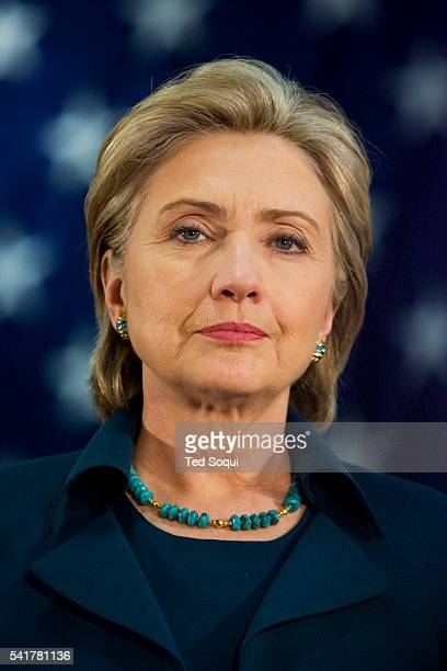 Democratic Presidential candidate Senator Hillary Clinton speaks during a campaign stop in Los Angeles at the IBEW Electrical Training Institute She...