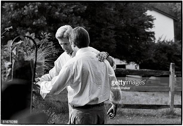 Democratic presidential candidate Senator John Kerry and his running mate Senator John Edwards share a moment in the late afternoon at Rosemont Farm...