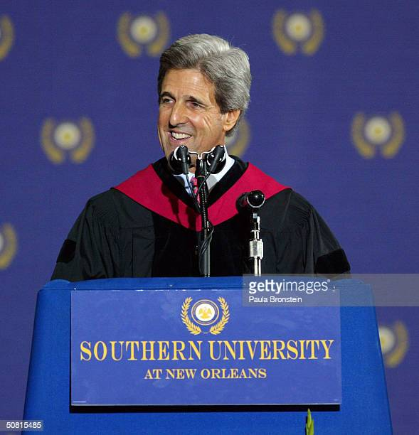 Democratic presidential candidate Senator John Kerry gives a speech at Southern University's graduation May 8 2004 in New Orleans Louisiana Kerry...
