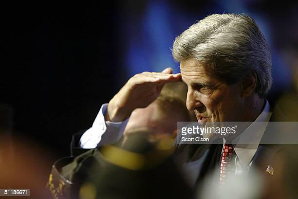 Democratic Presidential Candidate Senator John Kerry salutes veterans at the 105th Veterans of Foreign Wars national convention August 18 2004 in...