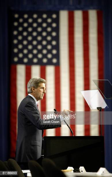 Democratic Presidential Candidate Senator John Kerry speaks at the 105th Veterans of Foreign Wars national convention August 18 2004 in Cincinnati...