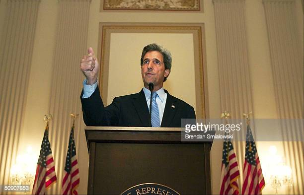 Democratic presidential candidate Senator John Kerry speaks during a special tribute for African American war veterans at the Congressional Black...