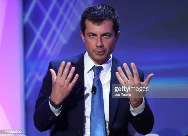 Democratic presidential candidate South Bend Indiana Mayor Pete Buttigieg speaks during a US Presidential Candidates Forum at the 2019 NABJ Annual...