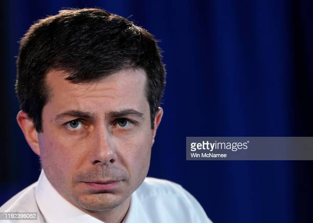 Democratic presidential candidate South Bend, Indiana Mayor Pete Buttigieg answers questions at the U.S. Conference of Mayors Iowa Starting Line...