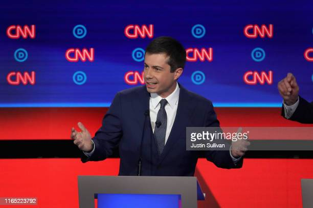 Democratic presidential candidate South Bend Indiana Mayor Pete Buttigieg speaks during the Democratic Presidential Debate at the Fox Theatre July 30...